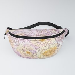 Gentle Pastel  Chinese Peonies Fanny Pack