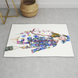 fashion #60: Woman in a suit with geometric pattern Rug