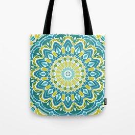 Beach Blue and Lime Green Mandala Tote Bag