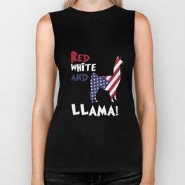 Llama American Flag Patriotic Red White Tshirt Biker Tank