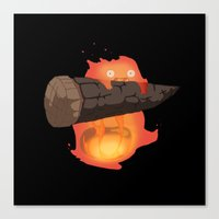 calcifer Canvas Prints featuring Calcifer by Oujo