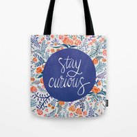 coral Tote Bags featuring Stay Curious – Navy & Coral by Cat Coquillette