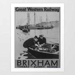 retro noir Brixham poster Art Print