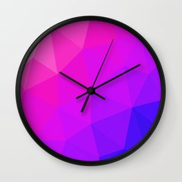 Magenta and Violet Low Poly Pattern Wall Clock