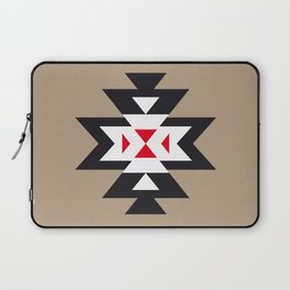 Navajo Aztec Pattern Black White Red on Light Brown Laptop Sleeve