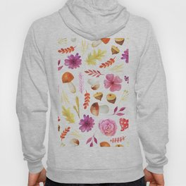 Magenta yellow hand painted watercolor Autumn floral Hoody