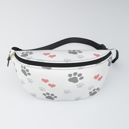 Paw prints and coral red heart pattern Fanny Pack