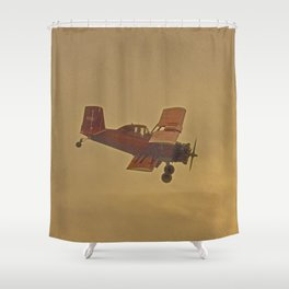 Crop Duster Flying In A Storm Shower Curtain