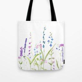 purple blue wild flowers watercolor painting Tote Bag