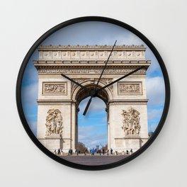 Arc de Triomphe at Charles de Gaulle square in Paris Wall Clock