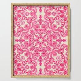 Hot Pink & Soft Cream Folk Art Pattern Serving Tray