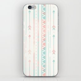 Geometrical blush blue coral pink bohemian arrows iPhone Skin