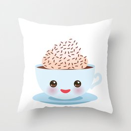 Cute blue Kawai cup, coffee with pink cheeks and winking eyes Throw Pillow