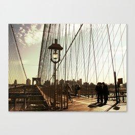 Walking Brooklyn Bridge Canvas Print