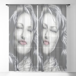 Lips - Graphic 3 Sheer Curtain