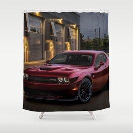 Octane Red Challenger SRT Hellcat Shower Curtain
