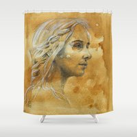 woman Shower Curtains featuring Woman by Catru