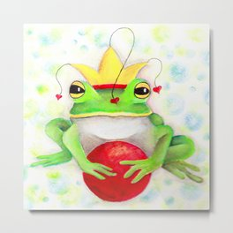Whimiscal Frog with Red Ball Metal Print