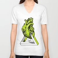 anatomical heart V-neck T-shirts featuring Green Anatomical heart  by Mia Hawk