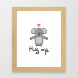 cute hand drawn lettering hug me with cartoon lovely koala bear Framed Art Print