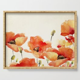 Poppy Flower Meadow- Floral Summer lllustration Serving Tray