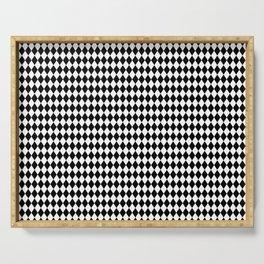 mini Black and White Mini Diamond Check Board Pattern Serving Tray