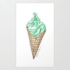 Mint Ice Cream Cone Art Print