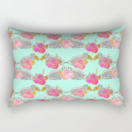 Wings and Roses Mint Green Rectangular Pillow