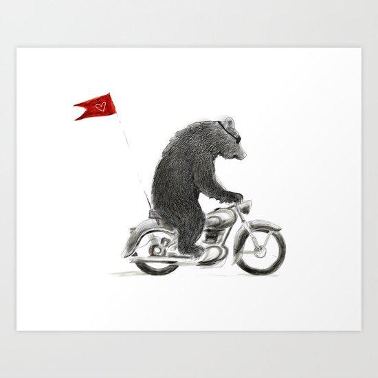 Motorcycle Bear Art Print