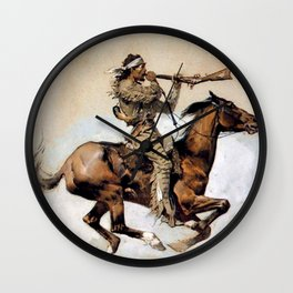 "Frederic Remington ""Buffalo Hunter Spitting Bullets"" Western Art Wall Clock"
