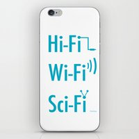 sci fi iPhone & iPod Skins featuring Hi Fi Wi Fi Sci Fi by Seedoiben