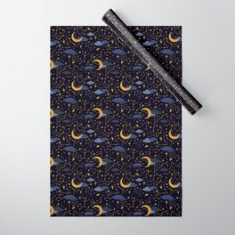 Celestial Stars and Moons in Gold and Dark Blue Wrapping Paper