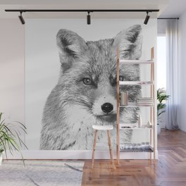 Black and White Fox Wall Mural