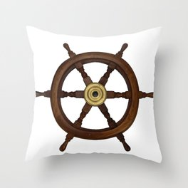 old oak steering wheel for ship or boat Throw Pillow