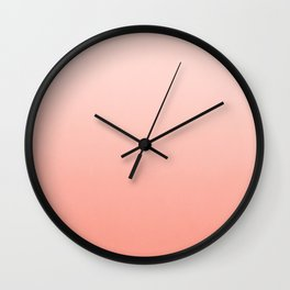 Ombre pastel fade peach blush coral gender neutral basic canvas art print minimalist Wall Clock