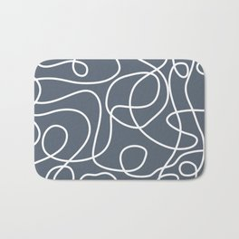 Doodle Line Art | White Lines on Dark Blue-Gray Background Bath Mat