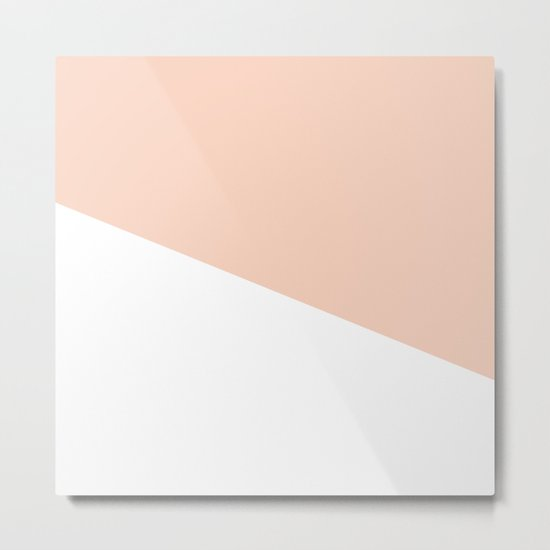 Geometric Blush Pink + White Metal Print