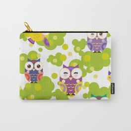 bright colorful owls and green leaves on white background Carry-All Pouch