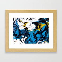 Dreamscape 01 in Blue, White & Gold Framed Art Print