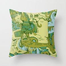 Green Town Throw Pillow