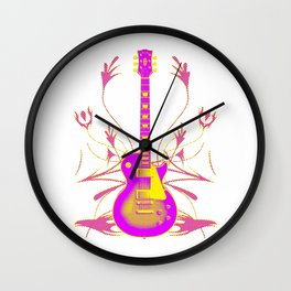 Guitar With Tribal Graphics Wall Clock