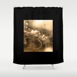 Dragon and wave,Tiger among bamboo by Kano Tannyu (1602-1674) Shower Curtain