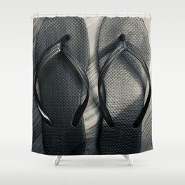 noir flip flops Shower Curtain