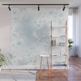 Beautiful light vector background with snowflakes Wall Mural