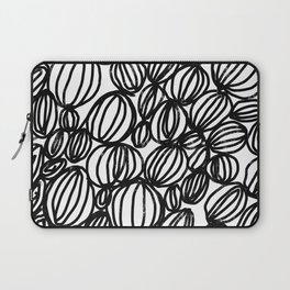 Loop black and white minimalist abstract painting mark making art print Laptop Sleeve