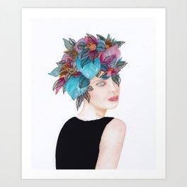 Woman in flowers, watercolor 4 Art Print