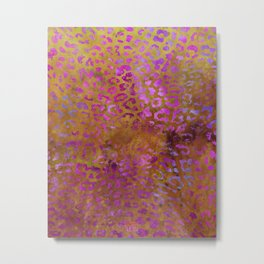 Leopard Print Art in Rust Dark Pink  | Watercolor Animal Print Series Metal Print