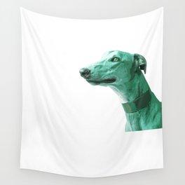 Green Greyhound. Pop Art portrait. Wall Tapestry