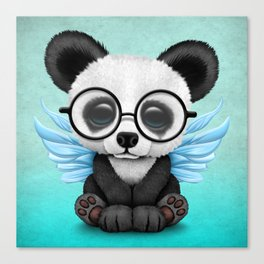 Cute Panda Cub with Fairy Wings and Glasses Blue Canvas Print