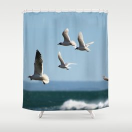 Seagulls flying over the sea Shower Curtain